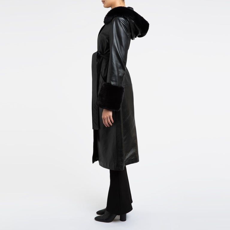 Verheyen London Hooded Leather Trench Coat in Black with Faux Fur - Size uk 12  For Sale 5