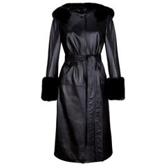Verheyen London Hooded Leather Trench Coat in Black with Faux Fur - Size uk 12