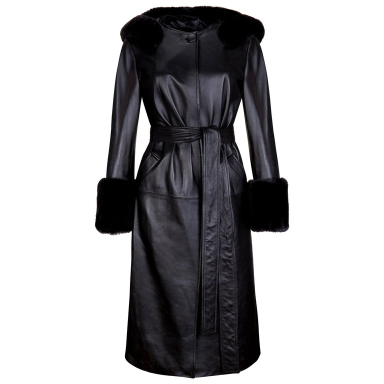 Verheyen London Hooded Leather Trench Coat in Black with Faux Fur - Size uk 12  For Sale