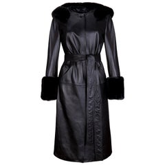 Verheyen London Hooded Leather Trench Coat in Black with Faux Fur - Size uk 14
