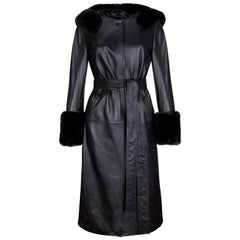 Verheyen London Hooded Leather Trench Coat in Black with Faux Fur - Size uk 8