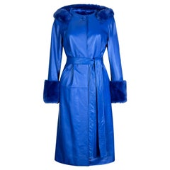 Verheyen London Hooded Leather Trench Coat in Blue with Faux Fur - Size uk 12