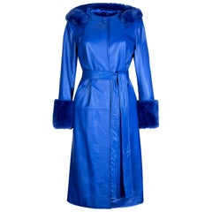Verheyen London Hooded Leather Trench Coat in Blue with Faux Fur - Size uk 14