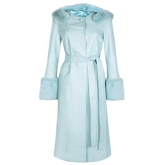Verheyen London Hooded Leather Trench Coat in Blue with Faux Fur - Size uk 16