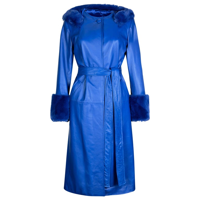 Verheyen London Hooded Leather Trench Coat in Blue with Faux Fur - Size uk 6 For Sale
