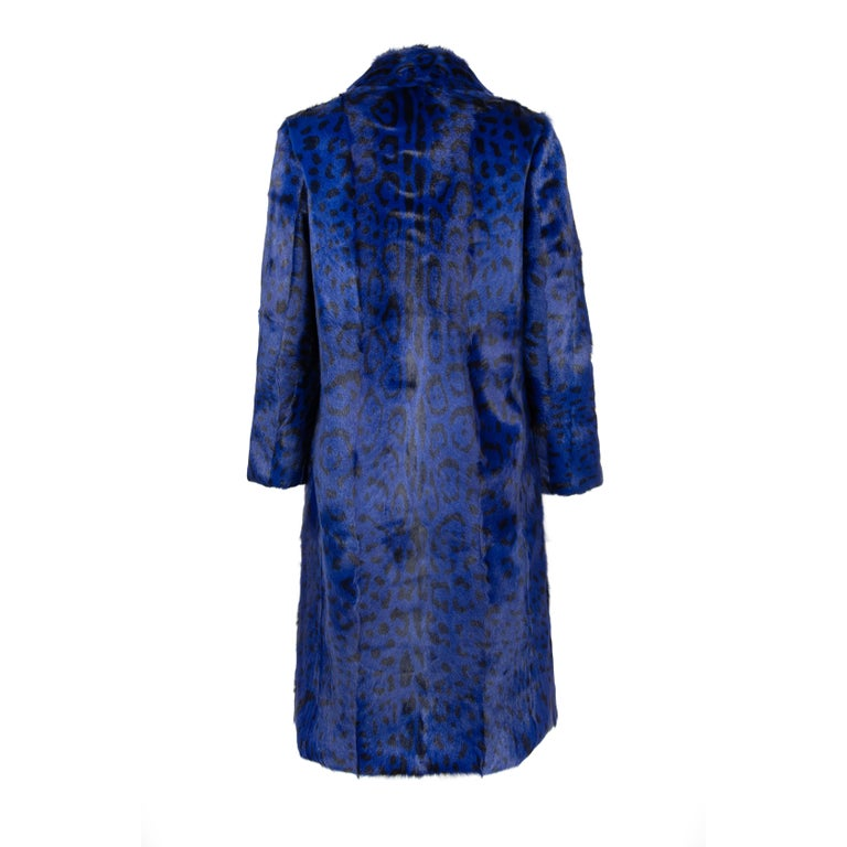Verheyen London Ink Blue Leopard Print Coat in Goat Hair Fur UK 10 - Brand New  In New Condition For Sale In London, GB