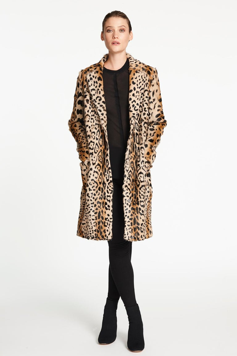 Women's Verheyen London Ink Blue Leopard Print Coat in Goat Hair Fur UK 10 - Brand New  For Sale