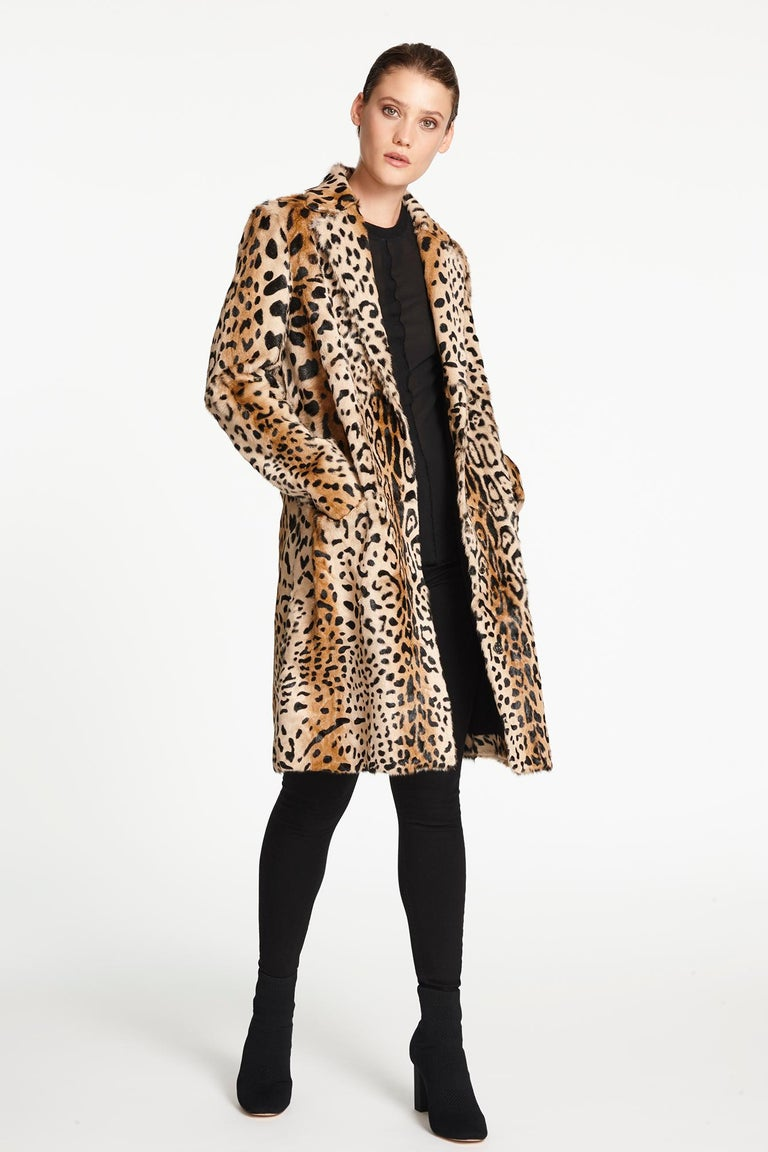 Verheyen London Ink Blue Leopard Print Coat in Goat Hair Fur UK 10 - Brand New  For Sale 1