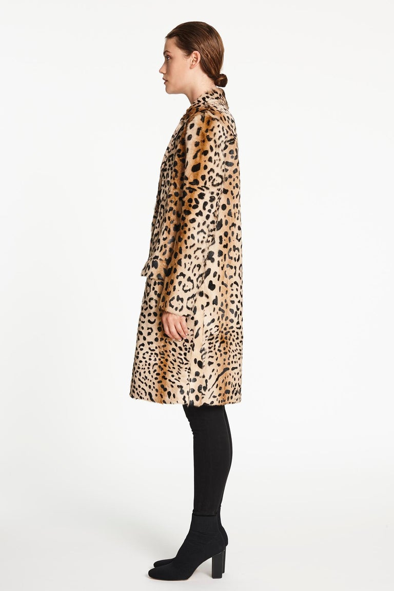 Verheyen London Ink Blue Leopard Print Coat in Goat Hair Fur UK 10 - Brand New  For Sale 2