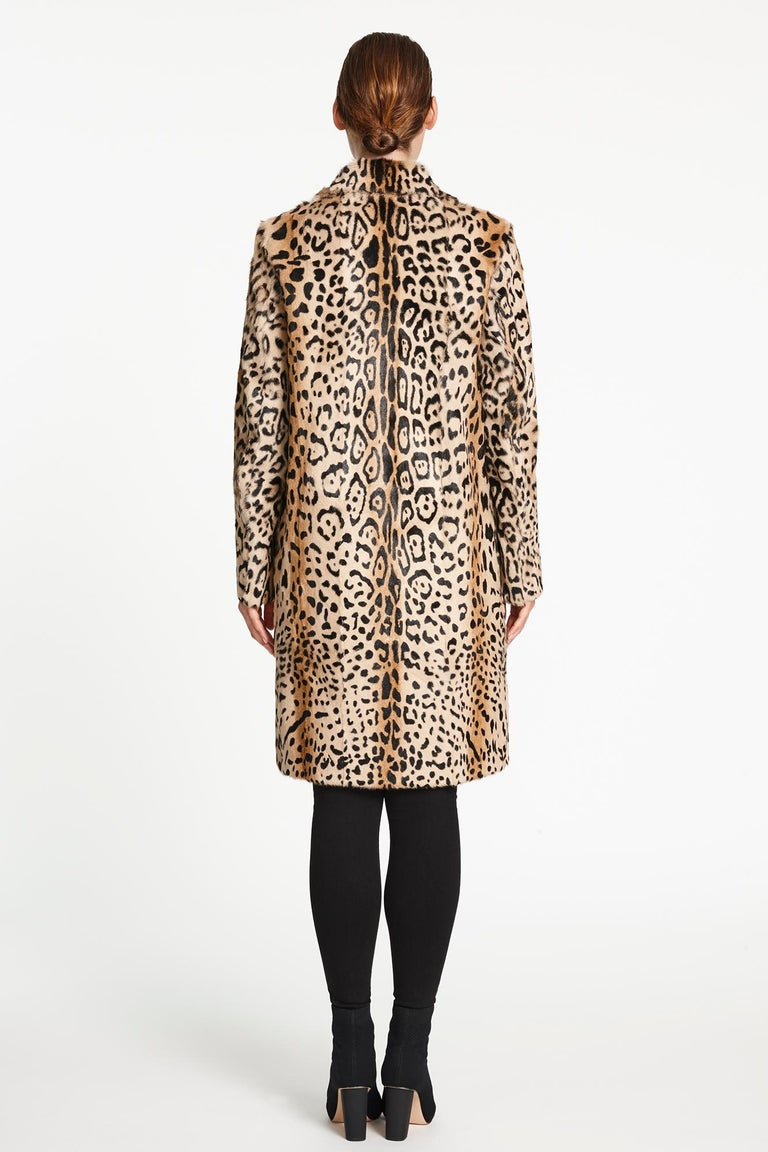Verheyen London Ink Blue Leopard Print Coat in Goat Hair Fur UK 10 - Brand New  For Sale 3