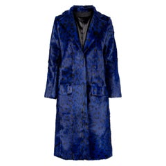 Verheyen London Ink Blue Leopard Print Coat in Goat Hair Fur UK 10 - Brand New