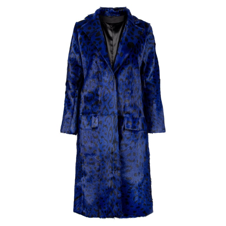 Verheyen London Ink Blue Leopard Print Coat in Goat Hair Fur UK 10 - Brand New  For Sale