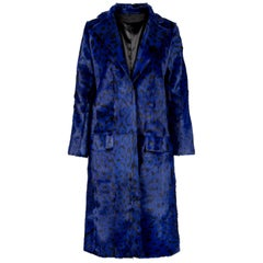 Verheyen London Ink Blue Leopard Print Coat in Goat Hair Fur UK 10