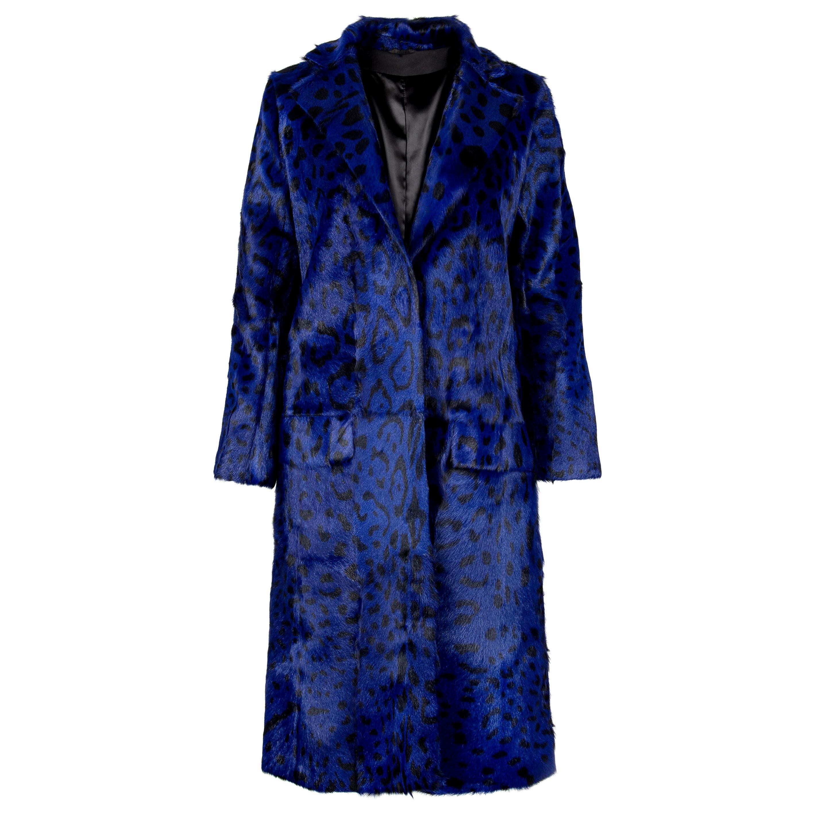 Verheyen London Ink Blue Leopard Print Coat in Goat Hair Fur UK 10