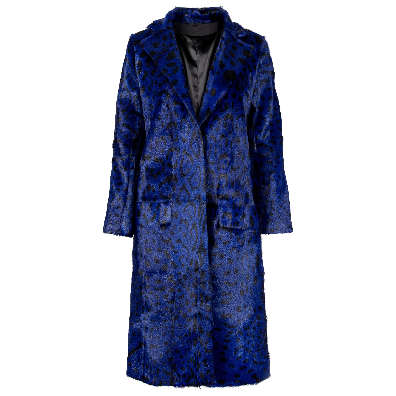Verheyen London Ink Blue Leopard Print Coat in Goat Hair Fur UK 8 - Brand New