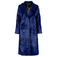 Verheyen London Ink Blue Leopard Print Coat in Goat Hair Fur UK 8 - Brand New