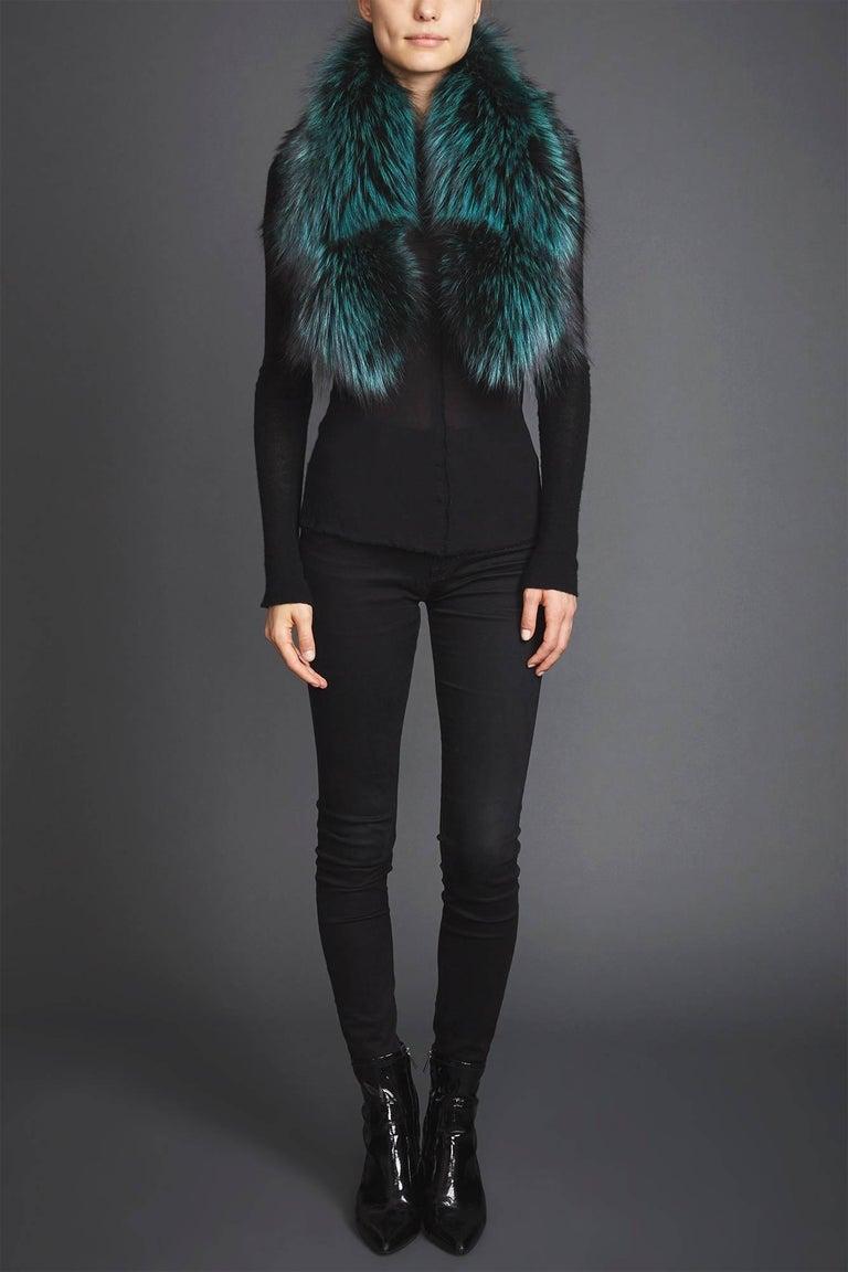 Women's or Men's Verheyen London Lapel Cross-Through Collar in Emerald Green Fox Fur - Brand New