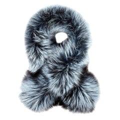 Verheyen London Lapel Cross-through Collar in Iced Topaz Fox Fur - Brand New