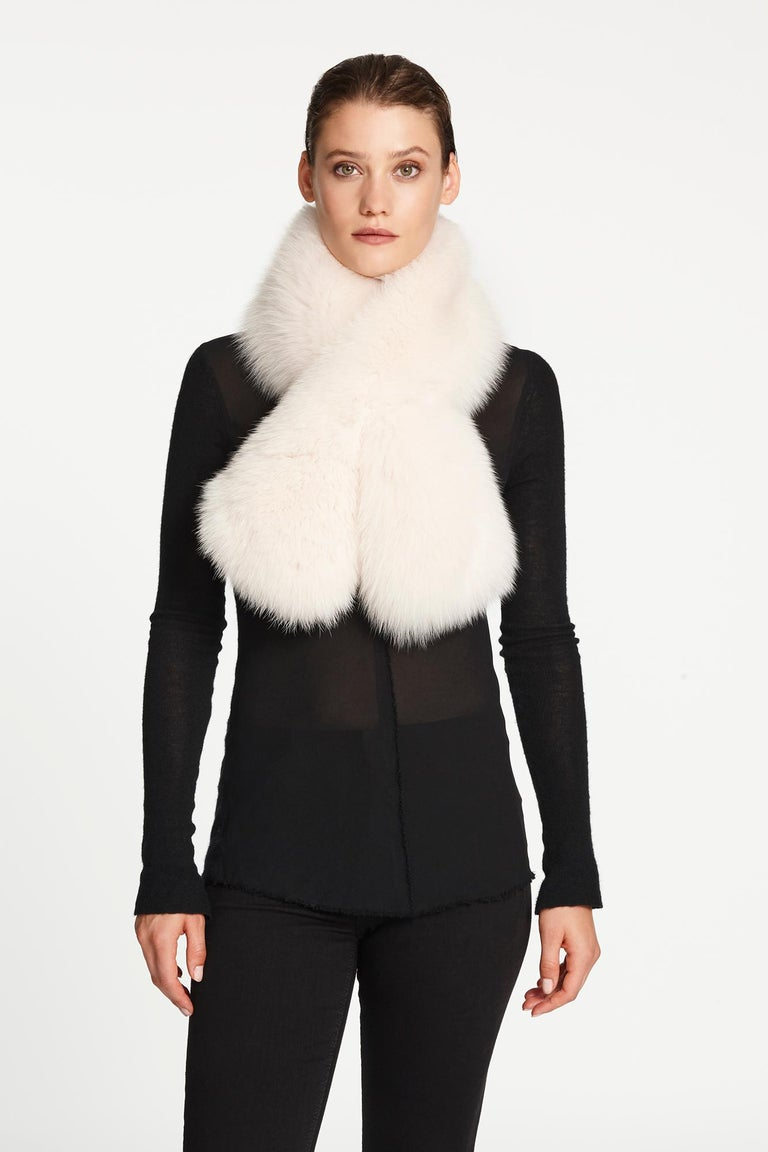 Verheyen London Lapel Cross-through Collar in Pearl White Fox Fur    The Lapel Cross-through Collar is Verheyen London's casual everyday design, which is perfectly shaped to wear over any outfit.  Designed for layering, this structured shape,