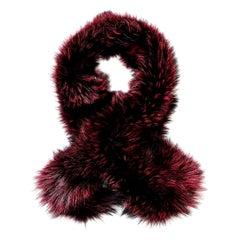 Verheyen London Lapel Cross-through Collar in Soft Ruby Fox Fur - Brand New