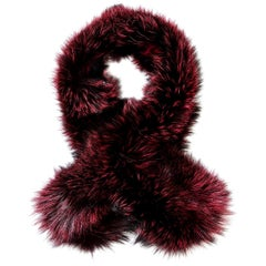 Verheyen London Lapel Cross-through Collar in Soft Ruby Fox Fur & Silk Lining