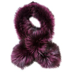 Verheyen London Lapel Cross-through Collar Stole Amethyst Fox Fur & Silk -new