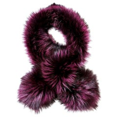Verheyen London Lapel Cross-through Collar Stole in Purple Fox Fur - Brand New