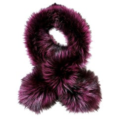Verheyen London Lapel Cross-through Collar Stole in Purple Fox Fur - Brand New