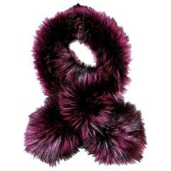 Verheyen London Lapel Cross-through Collar Stole in Purple Fox Fur