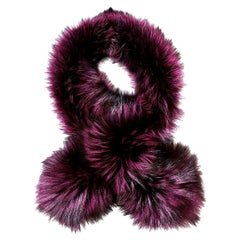 Verheyen London Lapel Cross-through Collar Stole in Purple Fox Fur - Gift