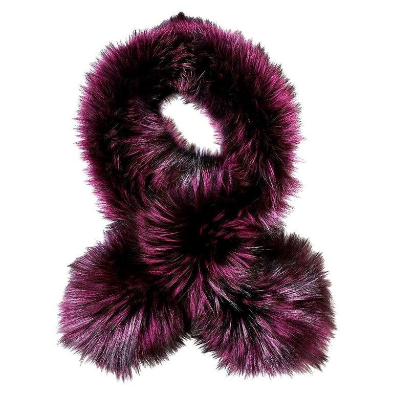Verheyen London Lapel Cross-through Collar Stole in Purple Fox Fur - Gift For Sale