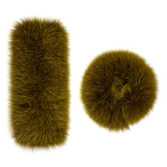 Verheyen London Large Pair of Snap on Fox Fur Cuffs in Amber Olive