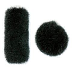 Verheyen London Large Pair of Snap on Fox Fur Cuffs in Winter Green