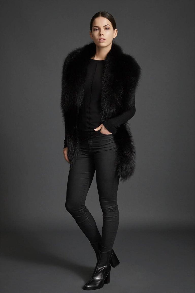 Women's or Men's Verheyen London Legacy Black Fox Fur Stole Collar - Brand New