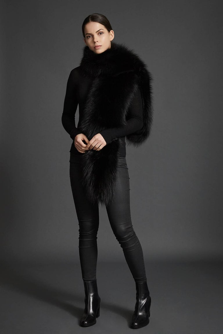 Verheyen London Legacy Black Fox Fur Stole Collar - Brand New  1