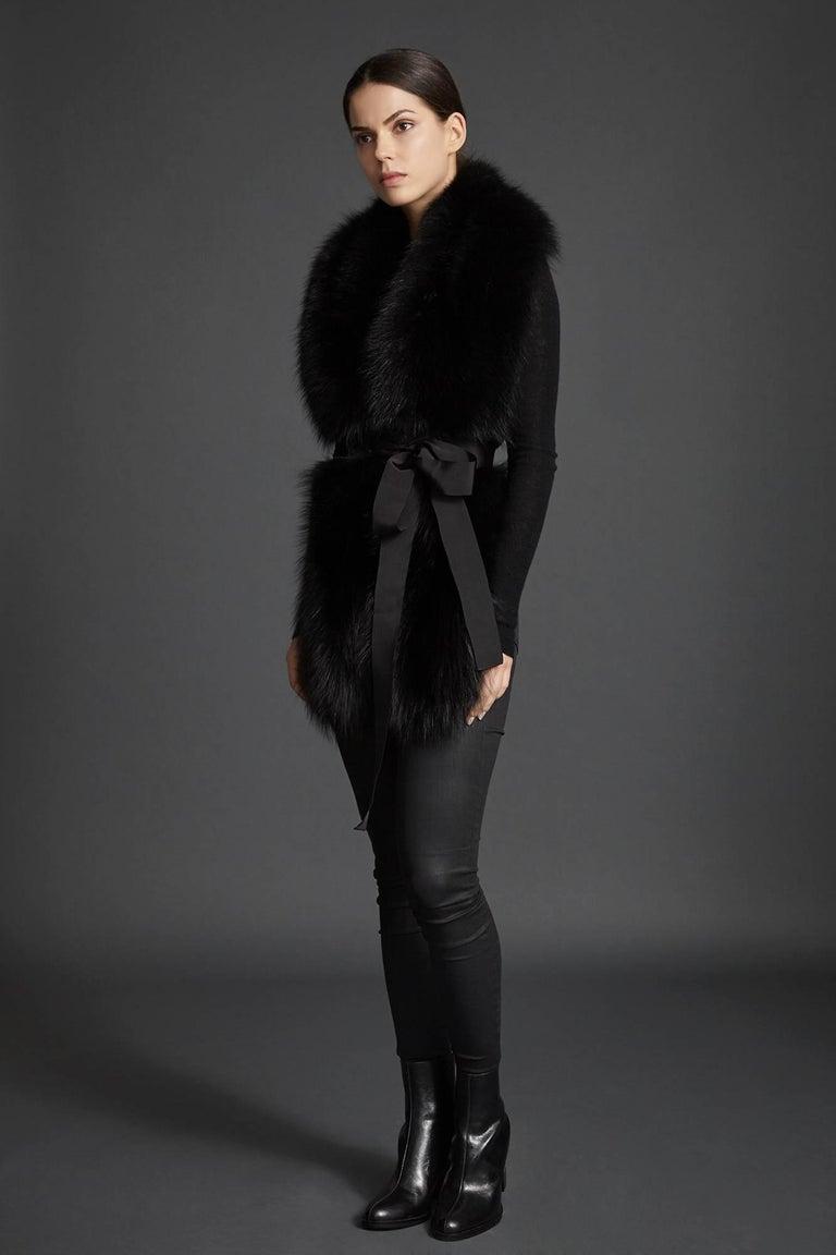 Verheyen London Legacy Black Fox Fur Stole Collar - Brand New  2