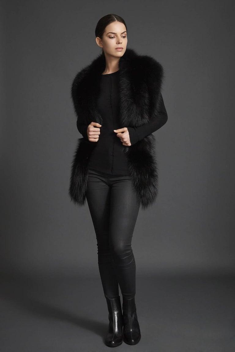 Verheyen London Legacy Black Fox Fur Stole Collar - Brand New  3