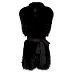 Verheyen London Legacy Black Fox Fur Stole Collar - Brand New