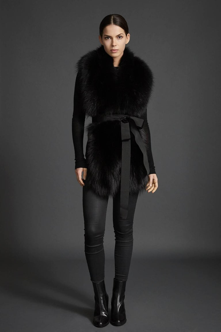 Verheyen London Legacy Black Fox Fur Stole - Worn in 3 ways - Brand New   The Legacy Stole is Verheyen London's versatile design to be worn from day to night. Crafted in the finest dyed blue fox fur and lined in coloured silk satin.  A structured