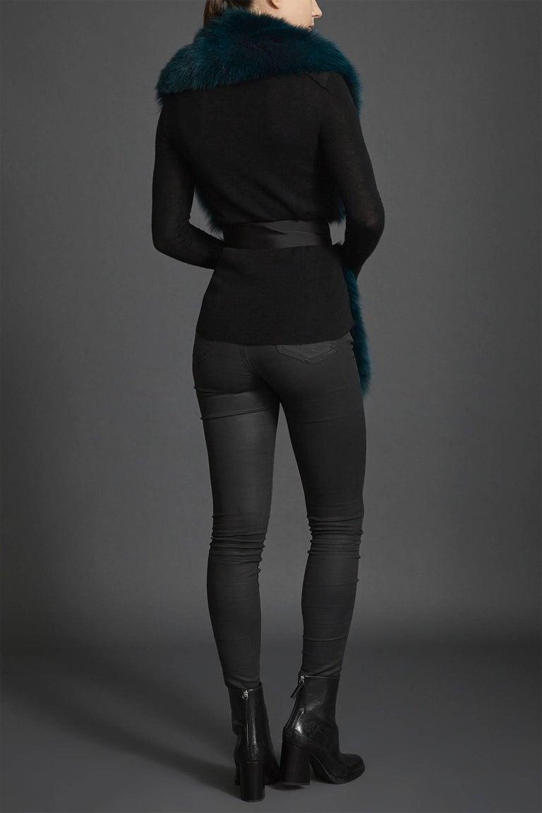Verheyen London Legacy Stole Collar in Jade Fox Fur & Silk Lining - Brand New  5