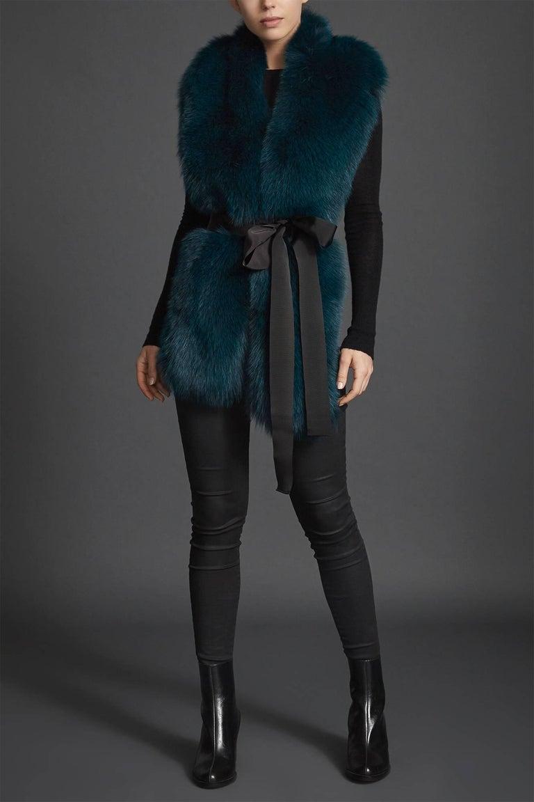 Verheyen London Legacy Stole Collar in Jade Fox Fur & Silk Lining - Brand New  In New Condition In London, GB