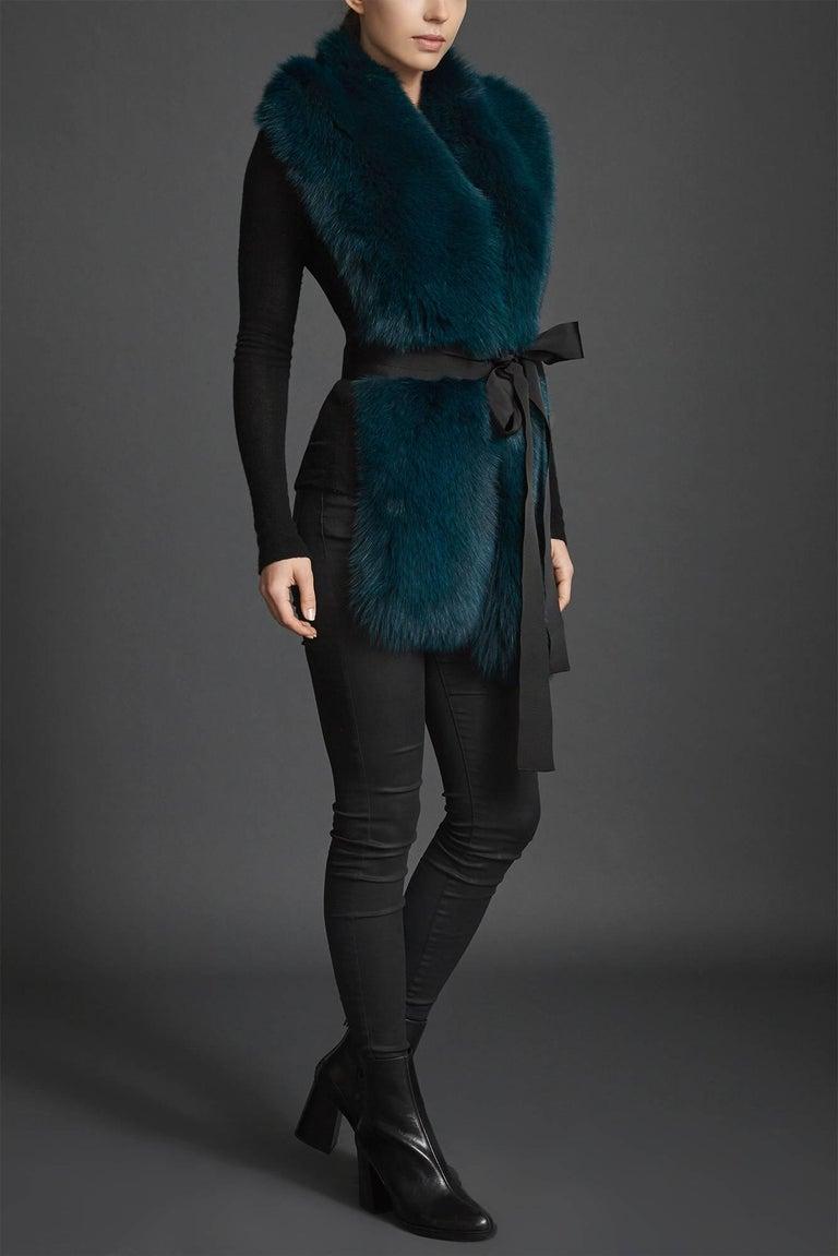 Women's or Men's Verheyen London Legacy Stole Collar in Jade Fox Fur & Silk Lining - Brand New