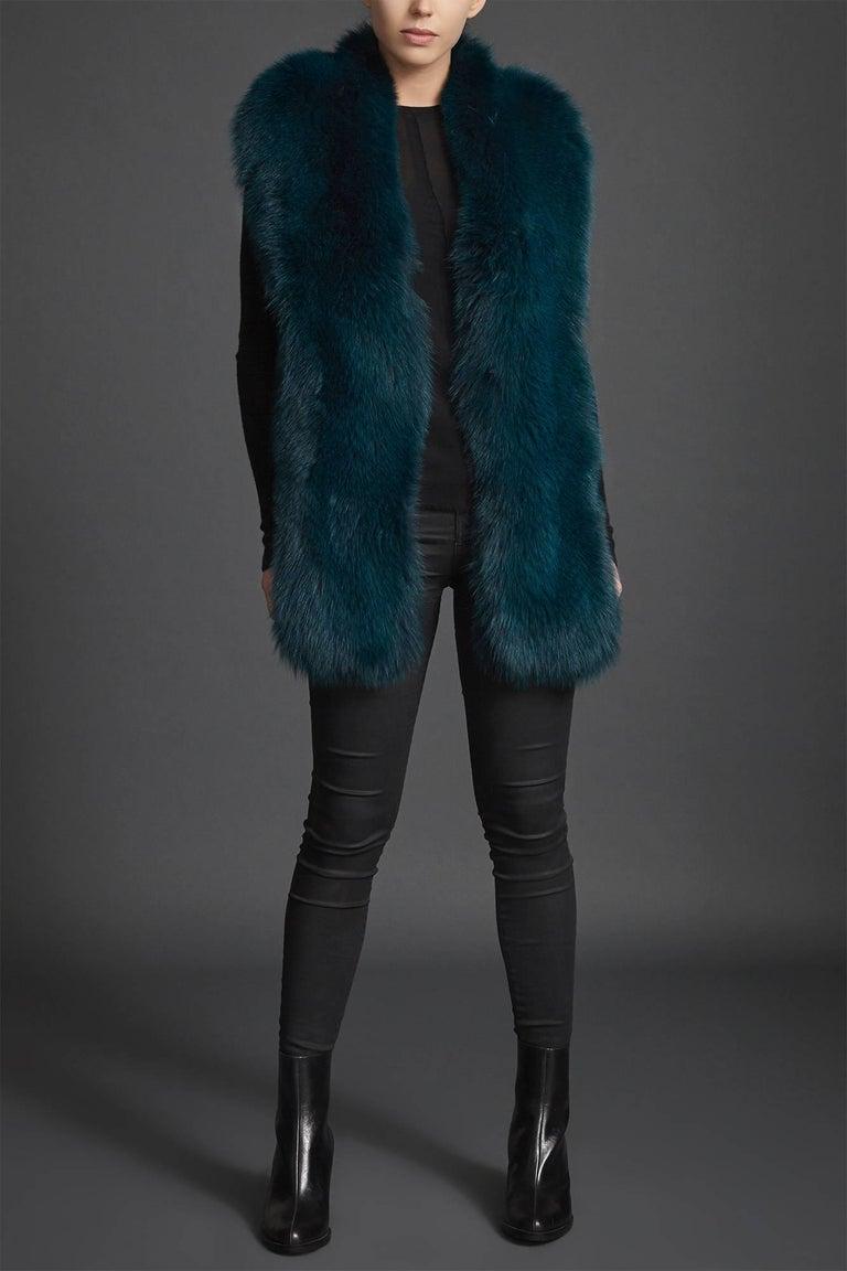 Verheyen London Legacy Stole Collar in Jade Fox Fur & Silk Lining - Brand New  1