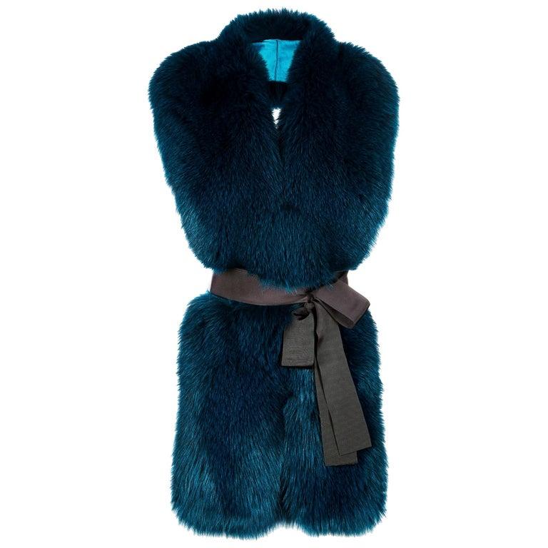Verheyen London Legacy Stole Collar in Jade Fox Fur & Silk Lining - Brand New