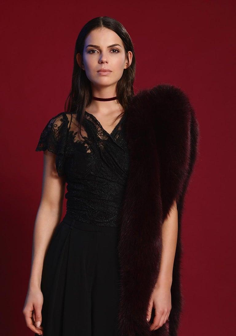 Black Verheyen London Legacy Stole in Garnet Burgundy Fox Fur - Brand New