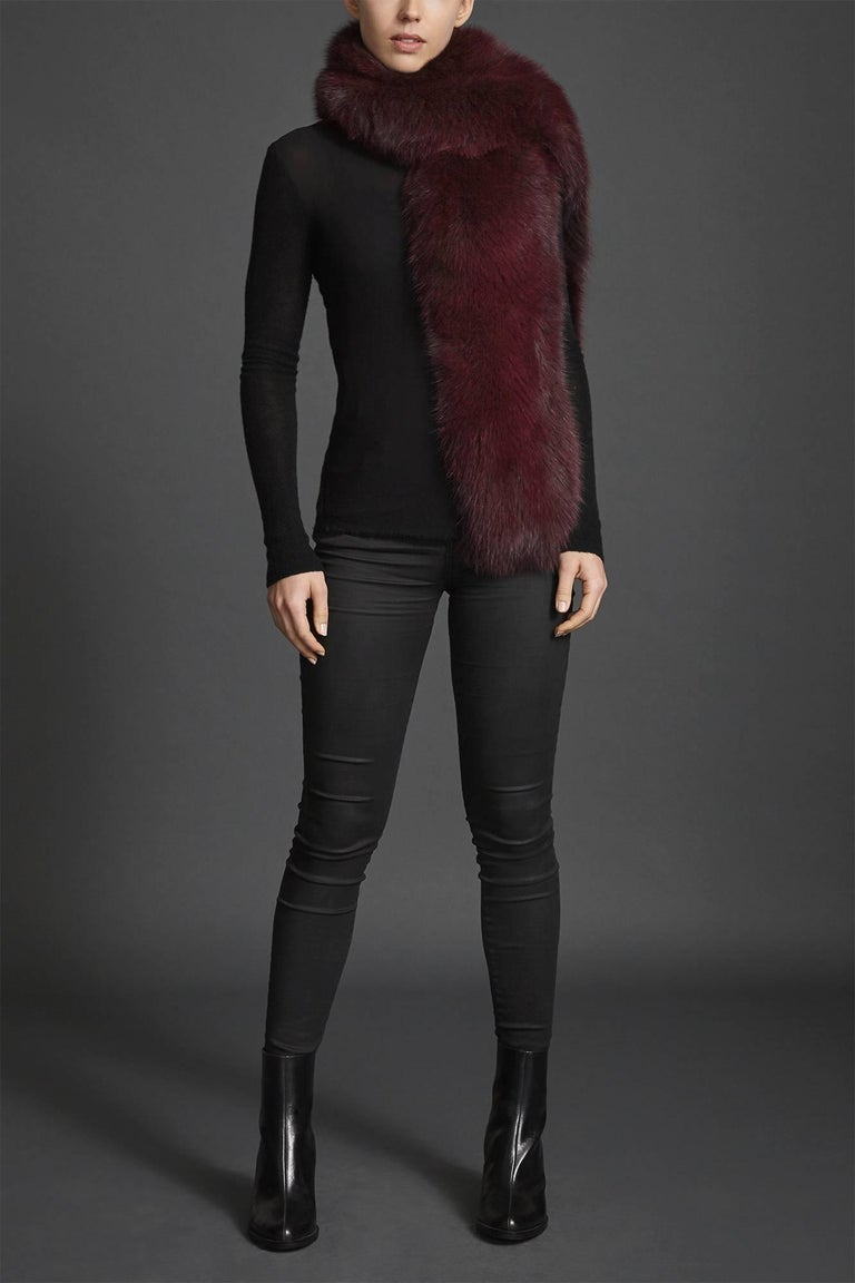 Verheyen London Legacy Stole in Garnet Burgundy Fox Fur - Brand New For Sale 4