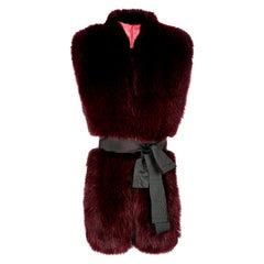 Verheyen London Legacy Stole in Garnet Burgundy Fox Fur