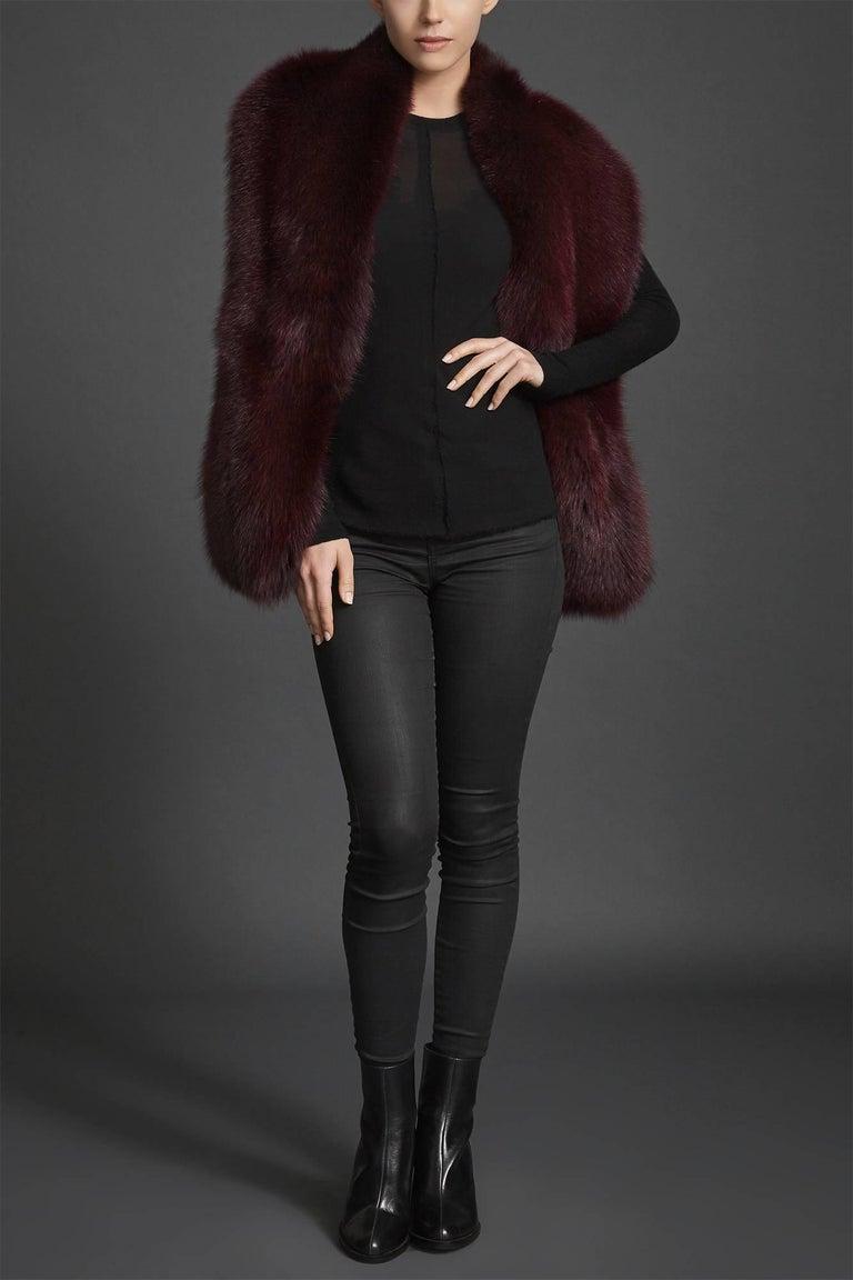 Verheyen London Legacy Stole Collar in Garnet Burgundy Fox Fur - Brand New  For Sale 1