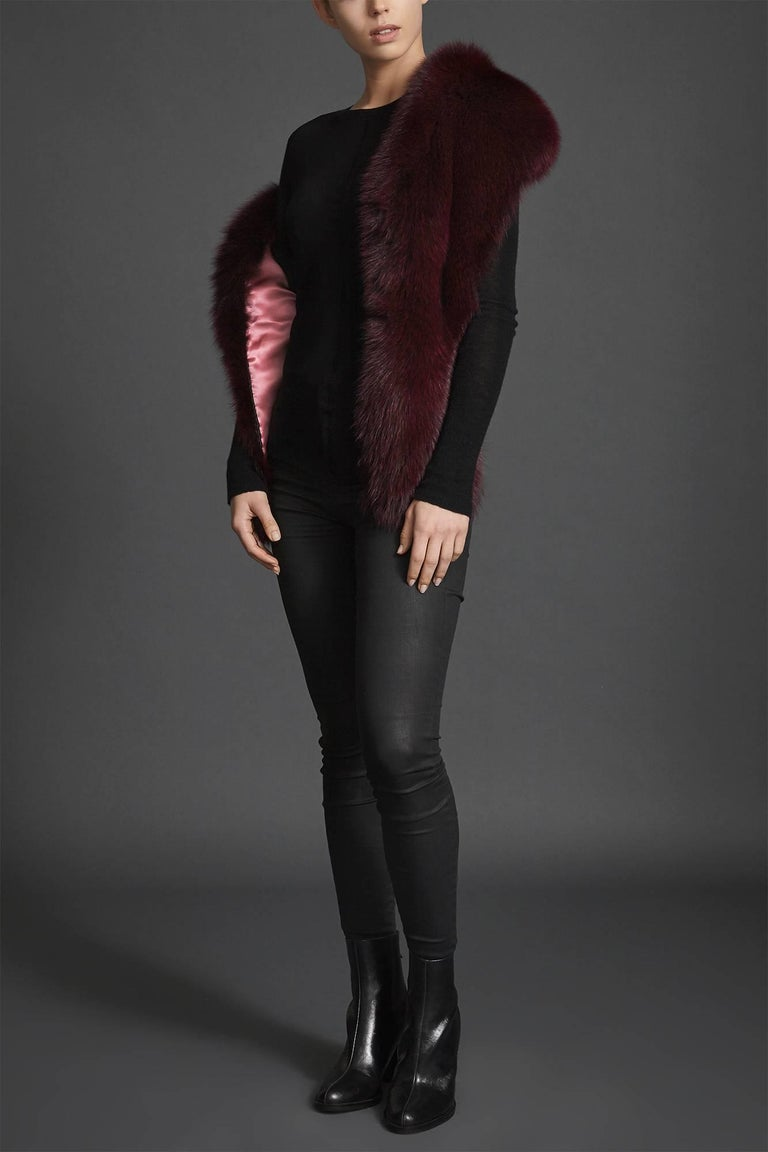 Verheyen London Legacy Stole in Garnet Burgundy Fox Fur - Valentines Gift For Sale 3