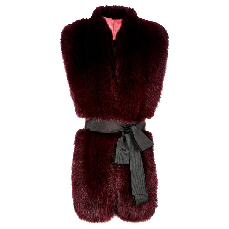 Verheyen London Legacy Stole in Garnet Burgundy Fox Fur - Valentines Gift For Sale